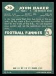 1960 Topps #70  John Baker  Back Thumbnail