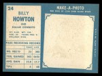 1961 Topps #24  Bill Howton  Back Thumbnail