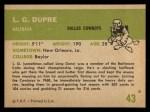 1961 Fleer #43  L. G. Dupre  Back Thumbnail