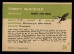 1961 Fleer #51  Tommy McDonald  Back Thumbnail