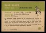 1961 Fleer #64  Dave Baker  Back Thumbnail