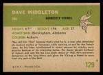 1961 Fleer #129  Dave Middleton  Back Thumbnail