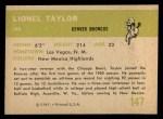 1961 Fleer #147  Lionel Taylor  Back Thumbnail