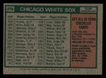 1975 Topps Mini #276   -  Chuck Tanner White Sox Team Checklist Back Thumbnail