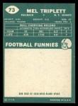1960 Topps #73  Mel Triplett  Back Thumbnail