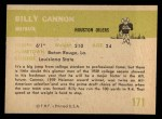 1961 Fleer #171  Billy Cannon  Back Thumbnail