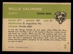 1961 Fleer #3  Willie Galimore  Back Thumbnail