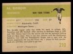1961 Fleer #210  Al Dorow  Back Thumbnail