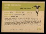 1961 Fleer #217  Mike Hudock  Back Thumbnail