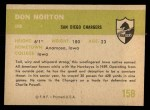 1961 Fleer #158  Don Norton  Back Thumbnail