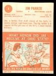 1963 Topps #5  Jim Parker  Back Thumbnail