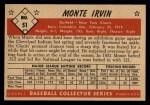 1953 Bowman #51  Monte Irvin  Back Thumbnail