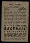 1952 Bowman #212  Solly Hemus  Back Thumbnail