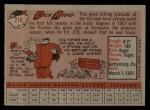1958 Topps #218  Dick Rand  Back Thumbnail
