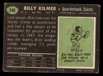 1969 Topps #240  Billy Kilmer  Back Thumbnail