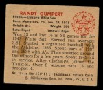1950 Bowman #184 CPR Randy Gumpert  Back Thumbnail