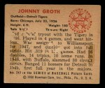 1950 Bowman #243 CPR Johnny Groth  Back Thumbnail