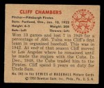 1950 Bowman #202 CPR Cliff Chambers  Back Thumbnail