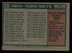1975 Topps Mini #421   -  Yogi Berra Mets Team Checklist Back Thumbnail
