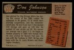 1955 Bowman #101 COR Don Johnson  Back Thumbnail