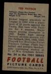 1951 Bowman #54  Ted Fritsch  Back Thumbnail