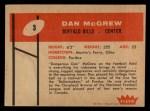 1960 Fleer #3  Dan McGrew  Back Thumbnail