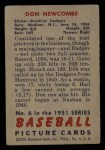 1951 Bowman #6  Don Newcombe  Back Thumbnail