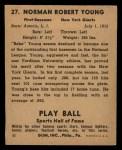 1941 Play Ball #27  Babe Young  Back Thumbnail