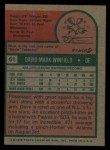 1975 Topps #61  Dave Winfield  Back Thumbnail