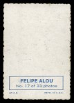 1969 Topps Deckle Edge #17  Felipe Alou    Back Thumbnail