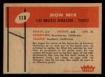 1960 Fleer #118  Ron Mix  Back Thumbnail