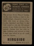 1951 Topps Ringside #44   -  Tony Zale / Marcel Cerdan Zale vs Cerdan Back Thumbnail