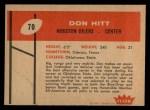 1960 Fleer #70  Don Hitt  Back Thumbnail