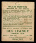 1933 Goudey #188  Rogers Hornsby  Back Thumbnail