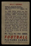 1951 Bowman #53  Billy Grimes  Back Thumbnail