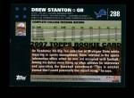 2007 Topps #288  Drew Stanton  Back Thumbnail