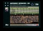 2007 Topps #356  Anthony Spencer  Back Thumbnail