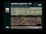2007 Topps #326  Anthony Gonzalez  Back Thumbnail