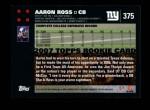 2007 Topps #375  Aaron Ross  Back Thumbnail