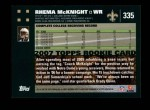 2007 Topps #335  Rhema McKnight  Back Thumbnail