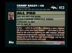 2007 Topps #413   -  Champ Bailey Pro Bowl Back Thumbnail