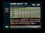 2007 Topps #233  Champ Bailey  Back Thumbnail