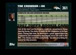 2007 Topps #361  Tim Crowder  Back Thumbnail