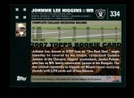 2007 Topps #334  Johnnie Lee Higgins  Back Thumbnail