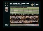 2007 Topps #306  Antonio Pittman  Back Thumbnail