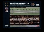 2007 Topps #236  Rashean Mathis  Back Thumbnail