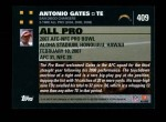 2007 Topps #409   -  Antonio Gates Pro Bowl Back Thumbnail