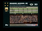 2007 Topps #303  Brandon Jackson  Back Thumbnail