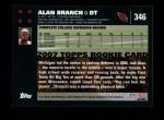 2007 Topps #346  Alan Branch  Back Thumbnail