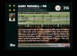 2007 Topps #316  Gary Russell  Back Thumbnail